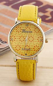 Mulheres Relógio de Moda Quartzo Couro Banda Casual Azul Amarelo Amarelo Azul