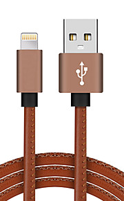 Lightning USB 2.0 Flettet Højhastighed Guldbelagt Kabel Til iPhone iPad MacBook MacBook Air MacBook Pro cm PU-læder Aluminium