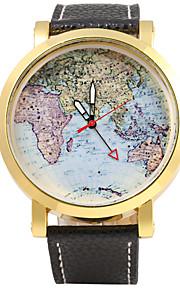 JUBAOLI Masculino Mulheres Unissex Relógio Militar Quartzo Mostrador Grande Couro Banda Legal Padrão Mapa do MundoPreta Vermelho Laranja