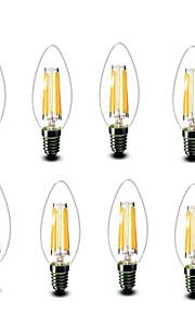 4.5W E14 LED-glødepærer C35 6 COB 600 lm Varm hvit Dekorativ AC220 AC230 AC240 V 8 stk
