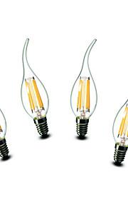 4.5W E14 LED-lysestakepærer CA35 6 COB 500 lm Varm hvit Dekorativ AC 220-240 V 4 stk.