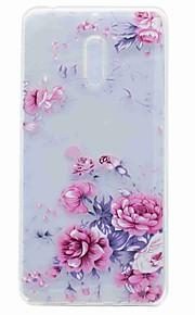 Para el caso translúcido de la contraportada del patrón de la cubierta del caso de nokia 6 caso suave de la flor del tpu
