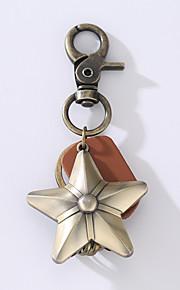 O novo ounk homem da vindima couro liga chaveiro com cinco estrelas chave anel