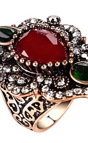Statement-ringe Ring Unikt design Mode Vintage Personaliseret Euro-Amerikansk luksus smykker Statement-smykker Glas LegeringGeometrisk