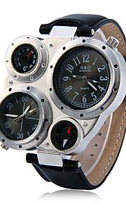 JUBAOLI Masculino Relógio Esportivo Relógio Militar Único Criativo relógio Quartzo Calendário Dois Fusos Horários Couro Banda Legal Preta