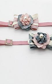 Cuello Plegable Ajustable Flor Tela de Encaje Tejido