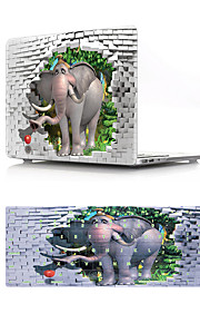 For MacBook Air 11 13 Pro Retina 13 15 Macbook 12 Case Cover PVC Material Oil Painting 3D Elephant with US Silicone Keyboard Protector