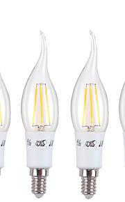 4W LED-lysestakepærer C37 4 COB 350 lm Varm hvit AC 85-265 V