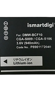 Ismartdigi BCF10 3.6V 940mAh Camera Battery for Panasonic DMC-FS4 FS6 FS7 GK