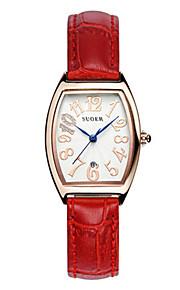 Mulheres Relógio de Moda Quartzo Digital Impermeável Couro Banda Vermelho