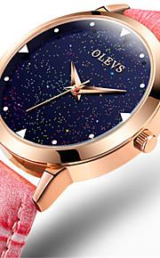 Mulheres Relógio de Moda Quartzo Impermeável Couro Banda Brilhante Vermelho Rosa