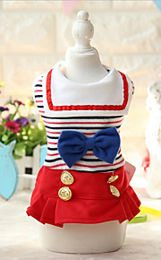 Dog Dress Dog Clothes Casual/Daily Fashion Bowknot Blue Ruby