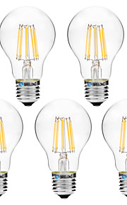 8W Lampadine LED a incandescenza A60(A19) 8 COB 600 lm Bianco caldo Bianco V 5 pezzi
