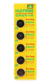 Bateria do botão hui feng cr2016 3v 5pcs