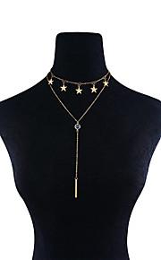 Dame Kort halskæde Halskædevedhæng Halskæder med flere lag Rhinsten Stjerneformet CooperPersonaliseret Multi-bæremåder beklædning