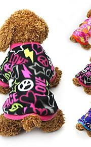 Gato Cachorro Casacos Camiseta Moletom Roupas para Cães Festa Casual Mantenha Quente Corações Preto Fúcsia Azul