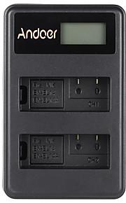 Andoer® en-el14 en-el14a genopladeligt li-ion batterioplader pack ledet display 2-slot usb kabel kit til nikon d3100 d3200 d3300 d5100