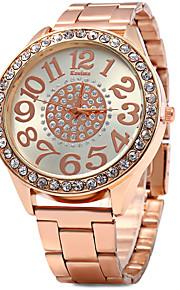 Kanima mulher diamante relógio de quartzo faixa de aço inoxidável - ouro rosa