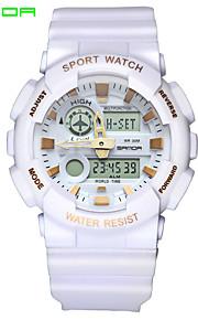 SANDA Męskie Sportowy Zegarek na nadgarstek Japoński Kwarcowy Cyfrowe Wodoszczelny Dwie strefy czasowe alarm Guma Pasmo Czarny Biały