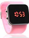 Miroir de silicone bande de gelée de visage dirigé montre-bracelet pour hommes, femmes (rose)