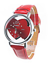 Women's Double Hearts Dial Red PU Band Quartz Wrist Watch Cool Watches Unique Watches