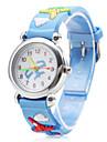 Children's Airplane Pattern Blue Silicone Band Quartz Analog Wrist Watch Cool Watches Unique Watches
