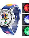 desenho animado infantil peixes estilo silicone analógico relógio de pulso de quartzo com luz piscante LED (azul)