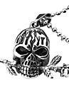 Eruner®Titanium Steel Skull with Rose Style Pendant Necklace