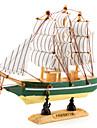16x16cm Wooden Sailing Boat Desk Decoration (Random Style)