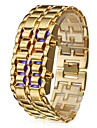 Men\'s Watch Blue LED Digital Lava Style Gold Steel Band Wrist Watch Cool Watch Unique Watch