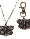 남녀 나비는 합금 아날로그 쿼츠 체인 목걸이 시계 (청동)