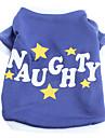 Caes Camiseta Azul Roupas para Caes Primavera/Outono Carta e Numero / Estrelas