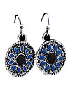 Retro Circular Pendant Alloy Earrings (Blue)
