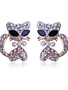 Korean fashion lovely stedded with drill pearl Cool cat gold plating Earrings