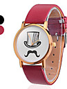 Men\'s and Women\'s Hat Mustache Pattern PU Analog Quartz Wrist Watch(Assorted Colors)