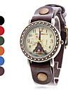 Tour Eiffel style analogique à quartz en cuir montre-bracelet des femmes (couleurs assorties)