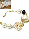 Gold Plated Alloy Zircon Pearl Hollow-out Flower Pattern Bracelet