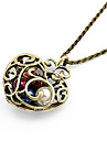 Vintage Antique Copper Alloy Bead Hollow-out Heart Pendant Necklace