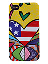 Stripe Heart Pattern Transparent Frame Hard Case for iPhone 4/4S