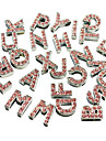 Dog tags Rhinestone Decorated 26 Alphabet Style DIY Decoration for Dogs Collar(Pink)