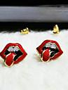 explosion coreana de joyeria de moda gran boca de la mujer& lengua brillante pendientes rojos E163