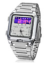 Men's Multi-Function Analog-Digital Dial Steel Band Wrist Watch (Silver) Cool Watch Unique Watch