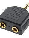 3.5mm Stereo Male to Dual Female Audio Adapter Black Gold-plated