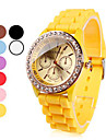 Women\'s Watch Fashion Gold Diamante Case Candy Color Silicone Band