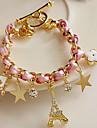Z&X® Stars flowers hearts poker leather cord Eiffel Tower crystal bracelet