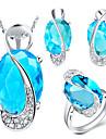 роскошные серебряные комплект ювелирных изделий женщин