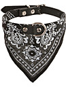 Adjustable Rivets Studded Spike PU Leather Bandana Collar for Pets Dogs (Assorted Colors, Sizes)