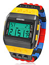 Men\'s Watch Sports Block Bricks Style LCD Digital Colorful Plastic Band