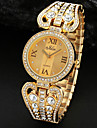 Women'S Party Crystal Gold Silver Alloy Band Analog Quartz Bracelet Watch