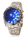 Men\'s Blue Led Digital Round Dial Steel Band Wrist Watch Cool Watch Unique Watch Fashion Watch